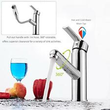 Single Handle Pull Out Spout Faucet Sink Cold & Hot Switchable Brass Tap X7E0