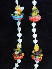 "Colorful ""Musical Frogs on Flowery Hats"" Mardi Gras Necklace Heart Beads (B815)"