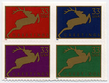 1999 33c Christmas Greetings Deer, Block of 4 Scott 3360-3363 Mint F/VF NH