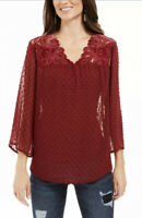 Style & Co Women's Mixed-Media Sheer-Sleeve Blouse Red Size Medium