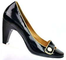 Sofft Black/Beige Patent Leather Button Horsebit Pumps Heels Women's 8 M