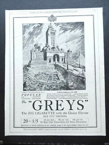 Vintage 1920s advert for GREYS cigarettes smoking Hive of Industry Major Drapkin