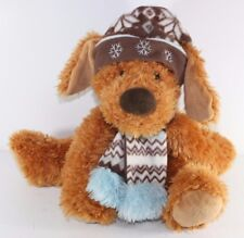 "Hugfun Plush Floppy Puppy Dog Fleece Hat Scarf Stuffed Animal Blue Brown 15"""