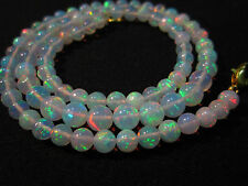 """46 Ct 17"""" Awesome Fire Play Natural Welo Ethiopian Opal Beads Necklace CJ39"""