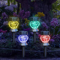 4x Solar Powered LED Coloured Diamond Lights Stainless Steel Garden Lamps Patio