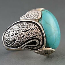 Luxury Men Floral Flower Ring Natural Oval Turquoise Wedding Jewelry Size 7-13