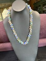 Vintage Pastel woven imitation pearl Twisted Gold Beaded Ladies Necklace 22""