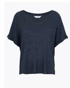 M&S Cosy Knit Ribbed Lounge Top Loungewear Navy 20 10 22 18