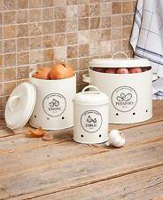 Set Of 3 Metal Food Storage Crocks Labeled Onions Garlic Potatoes Kitchen Decor