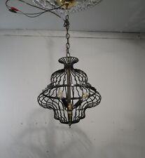 Antique Vintage Mid Century Modern Cage Pendant 3 Light Chandelier Black Iron