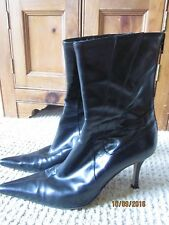 Vero Cuoio  Black pointy toe Leather Women Boots size 40 European  Made in Italy
