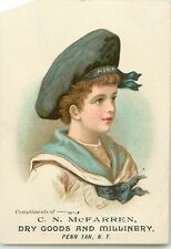 Victorian Tradecard, C.N. McFarren, Dry Goods & Millinery, Penn Yan Ny 1887