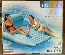 """INTEX Inflatable DOUBLE LOUNGE Pool Float 82"""" x 72"""" with Cup Holders"""