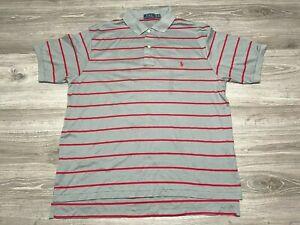 Men's POLO RALPH LAUREN Pony Striped Gray Short Sleeve Polo Shirt Size 1XB Big
