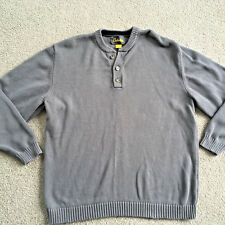 Cabelas MENS Button Crew Neck SWEATER Gray COTTON Casual NWOT large NEW