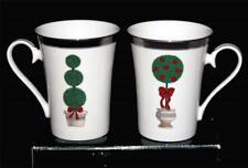 2 Mikasa Christmas TOPIARY Tall Mugs Silver Band & Highlights 2 Designs NIB DISC