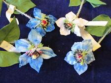 "Vintage Millinery Flower Collection Blue White Velvet 3"" German  H2682"
