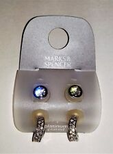 2 Pairs M&S Silver Zirconia Earrings; Hoops & Studs; Pierced ; Platinum Plated