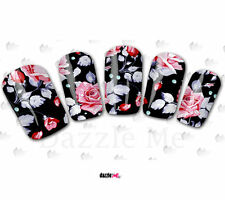 Nail Art Sticker Water Decals Transfers Pink Flowers (C150)