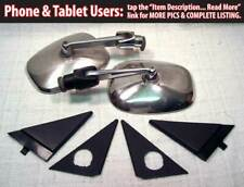 Volvo 240 Chrome Stainless Mirrors Pair w Trims Early RARE 242 244 245 Turbo IPD