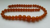 Vintage USSR Russian Natural Baltic AMBER necklace 35 grams 70s