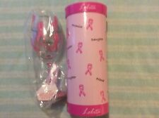 LOLITA HAND PAINTED PINK WINE GLASS PINK RIBBONS BREAST CANCER  AWARENESS
