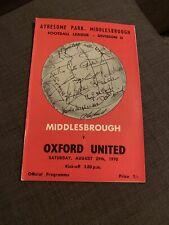 1970 Middlesborough V Oxford United Football Programme