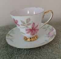 Vintage 1950s Old Royal Bone China England Tea Cup And Saucer Pink  Floral Gold
