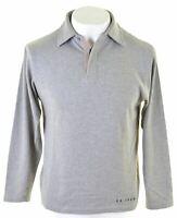 CALVIN KLEIN Mens Polo Shirt Long Sleeve Medium Grey Cotton  IB16