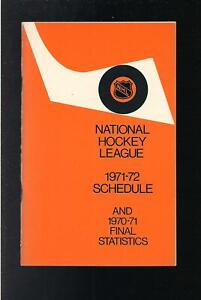 HOCKEY NHL 1971-72 SCHEDULE AND RECORD, NO WRITINGS
