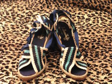 MAGNIFIQUE SANDALE COMPENSÉ VINTAGE 1970  T. 37 /SANDAL SHOES OLD NEW