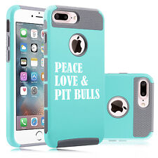 For iPhone SE 5s 6 6s 7 Plus Shockproof Hard Case Cover Peace Love & Pit Bulls