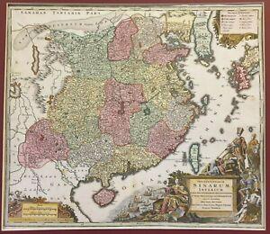 1730 MAP OF CHINA 中华人民共和国 SINARIUM SEUTTER SOUTHEAST ASIA UNIQUE COLOR KOREA