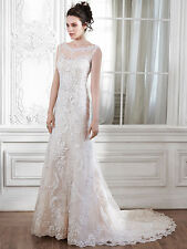 Illusion Back Fit and Flare Wedding Dress Verina Marie MaggieSottero Ivy/nude 12