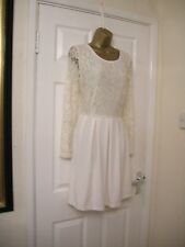 16 ASOS KOKO CREAM LACE MINI DRESS SKATER LONG SLEEVE PARTY SUMMER WEDDING