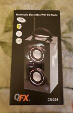 QFX Speaker CS-224 Multimedia Boom Box With FM Radio USB Rechargeable USB Port