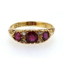 Victorian Ruby And Diamond Antique 18ct Gold Boat Ring.
