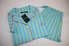 NWT RALPH LAUREN Small Women's Short Sleeve Turquoise Striped Shorts Pajama Set