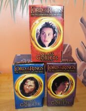 3 LORD OF THE RINGS LIGHT UP GLASS GOBLETS, FRODO, STRIDER, ARWEN, W/ BOXES 2001