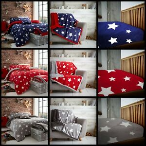 STAR TEDDY FLEECE Duvet Quilt Cover Or THROW Or Fitted Sheet All Sizes