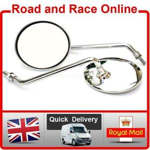 Classic Round Chrome Motorcycle Mirrors Pair Left & Right 8mm-M8 Screw Fixing