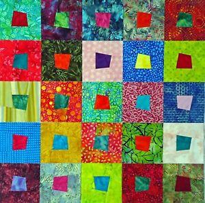 SQ-25 Batik Crazy Square Quilt Blocks M