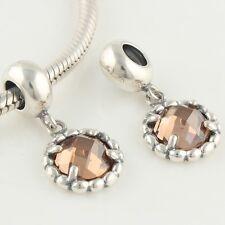 Genuine Sterling Silver 925 Euro Amber Dangle Bead Pendant For Charm Bracelet