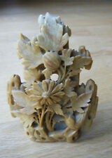 """Vintage Chinese Carved Soapstone Sculpture Statue Bird Floral 5"""" Tall"""