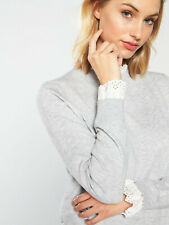 TED BAKER grey white broderie floral lace mockable knit sweater jumper top 1 8