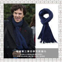 Sherlock Holmes Navy Blue Cashmere Muffler Scarf with Tasseled Ends Costume