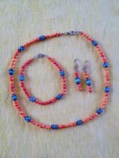 Natural Turquoise Coral Native American Necklace, Bracelet, Earrings
