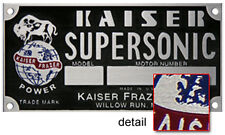 Kaiser Frazer Supersonic Engine COLOR Data Plate Acid Etched Aluminum
