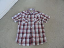Men's URBAN PIPELINE Size M RedPlaid Checkered Short Sleeve Shirt 100% Cotton