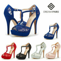 DREAM PAIRS Women's Sexy Open Toe Ankle Strap High Heel Stilettos Dress Sandals